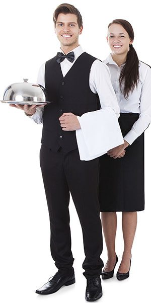 Domestic Couple dressed has waiters